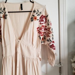 Zara Floral Embroidered Midi Dress